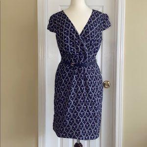 Liza Luxe blue flowered dress with belt